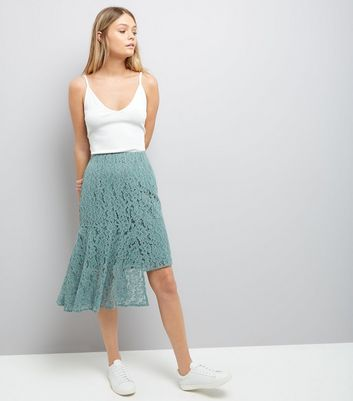 Green Lace Asymmetric Hem Midi Skirt
