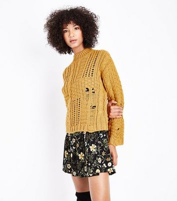 Mustard Yellow Ladder Cable Knit Jumper