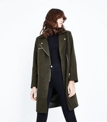 Olive Green Wool Longline Biker Jacket