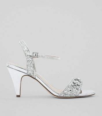 Wide Fit Silver Diamante Embellished Cone Heels