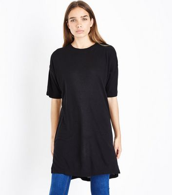 Black Longline Split Side T-Shirt