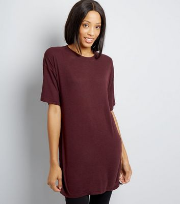 Burgundy Split Side Longline T-Shirt