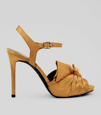 Wide Fit Yellow Satin Knot Front Heels