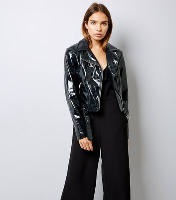Black Patent Leather-Look Biker Jacket