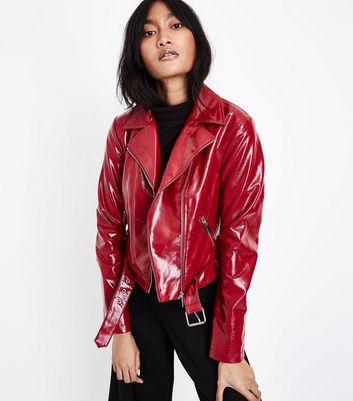Red Patent Leather-Look Biker Jacket