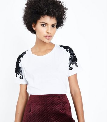 White Floral Applique T-Shirt