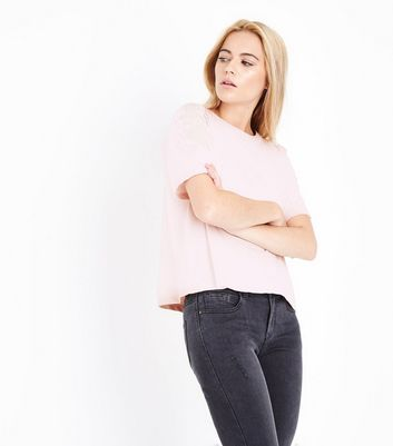 Pink Applique Shoulder T-Shirt