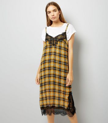 Yellow Check Chiffon Slip Dress