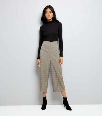 Brown Check Cropped Trousers