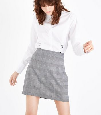 Black Houndstooth Mini Skirt