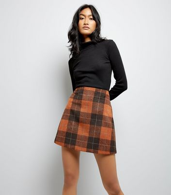 Rust Check Mini Skirt