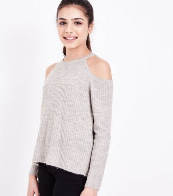 Teens Grey Fluffy Ribbed Cold Shoulder Jumper
