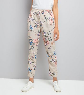 Stone Floral Print Tie Waist Trousers
