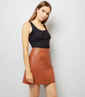 Tan Leather-Look Mini Skirt