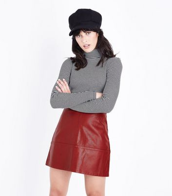 Dark Red Leather-Look Mini Skirt