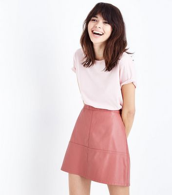 Coral Leather-Look Mini Skirt