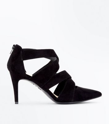 Black Comfort Flex Suedette Strappy Pointed Heels