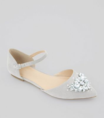 Wide Fit Grey Suedette Embellished Pointed Pumps
