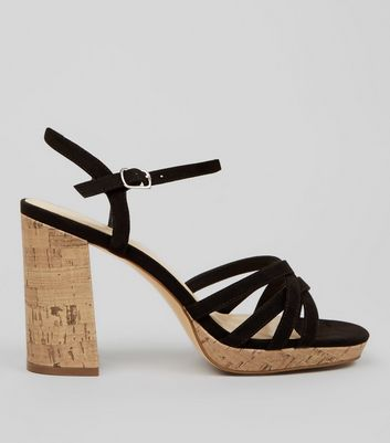 Wide Fit Black Suedette Cork Strappy Sandals