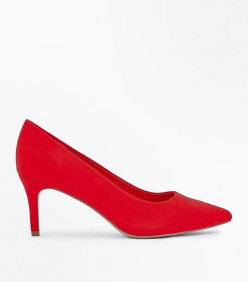Wide Fit Red Suedette Pointed Courts