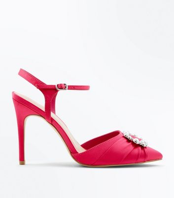 Wide Fit Pink Satin Brooch Pointed Court Shoes