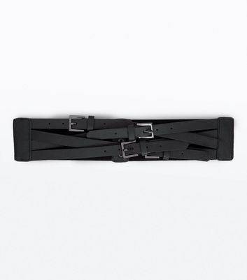 Black Multi Buckle Waist Belt
