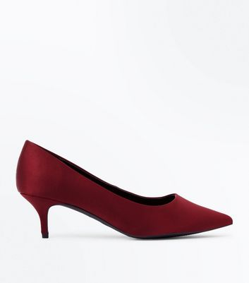Wide Fit Red Satin Kitten Heel Court Shoes