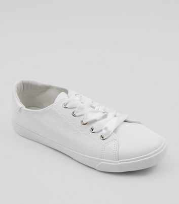 Wide Fit White Ribbon Lace Up Trainers