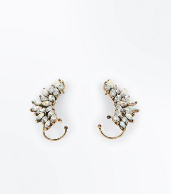 Gold Gem Embellished Statement Earcuffs