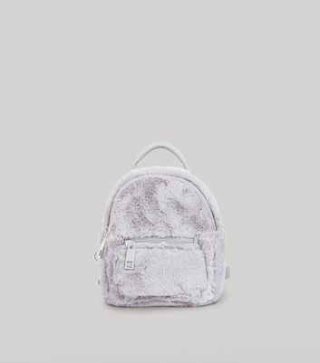 Grey Faux Fur Mini Backpack