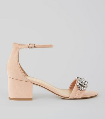 Cream Suedette Embellished Low Block Heel Sandals
