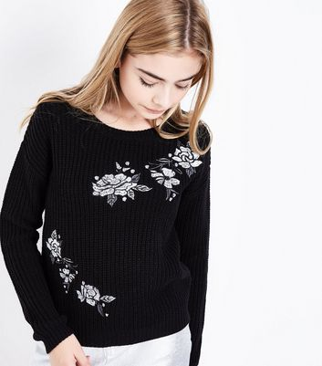 Teens Black Ribbed Floral Embroidered Jumper