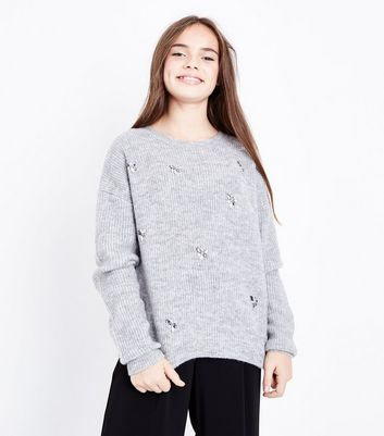 Teens Grey Embellished Jumper