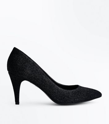 Black Glitter Cone Heel Court Shoes