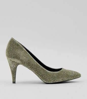 Gold Glitter Cone Heel Court Shoes