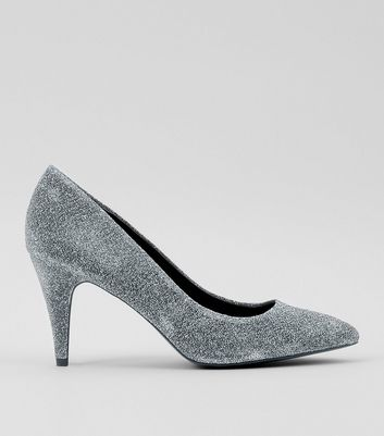 Silver Glitter Cone Heel Court Shoes