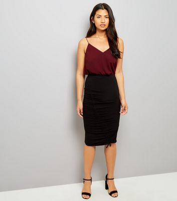 Black Ruched Side Midi Skirt