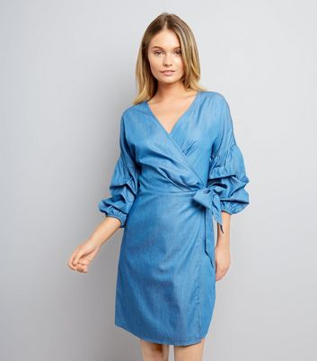 Blue Ruched Sleeve Wrap Dress