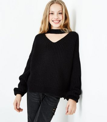 Teens Black Choker Neck Jumper