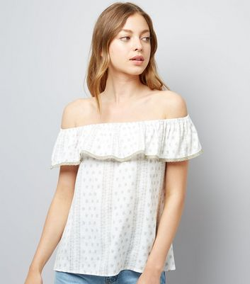 Apricot Stone Frill Trim Bardot Neck Top