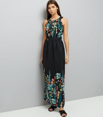 Apricot Black Floral Embroidered Maxi Dress
