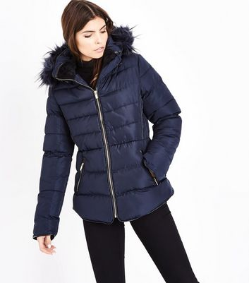 Blue Vanilla Navy Piped Hooded Puffer Jacket
