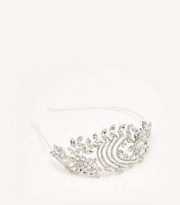 Silver Floral Diamante Bridal Headband