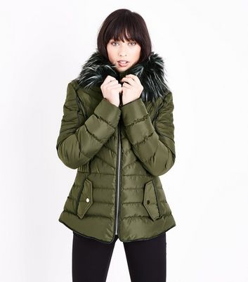 Blue Vanilla Olive Green Faux Fur Trim Fitted Puffer Jacket
