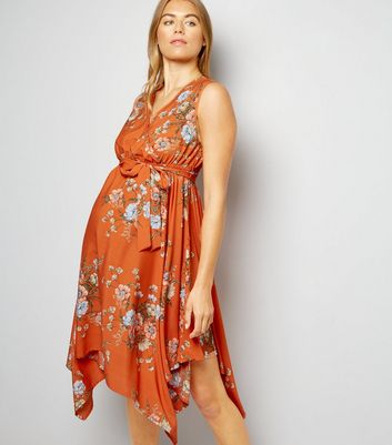 Maternity Orange Floral Print Hanky Hem Dress