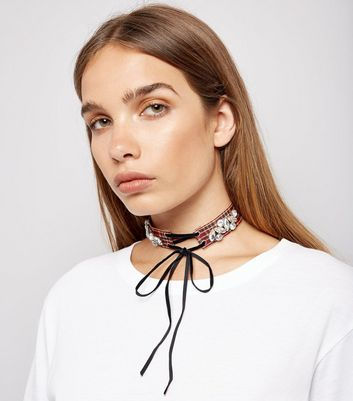 Red Tartan Embellished Velvet Lace Up Choker