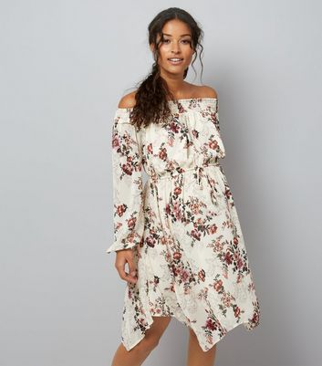 White Floral Print Hanky Hem Dress