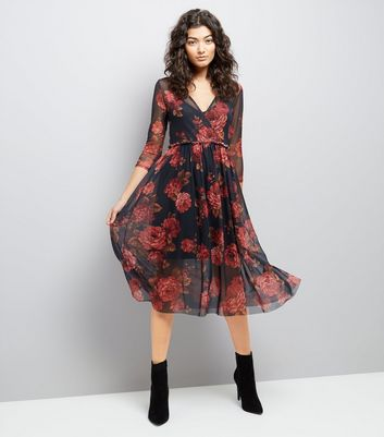 Black Floral Print Mesh Wrap Front Midi Dress