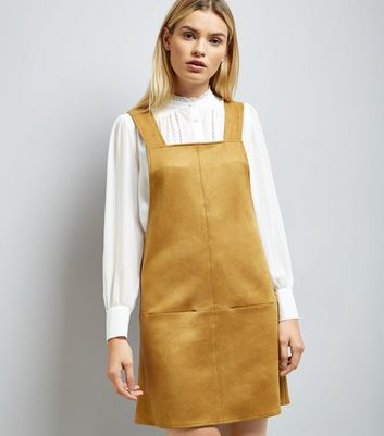 Gold Suedette Pinafore Dress