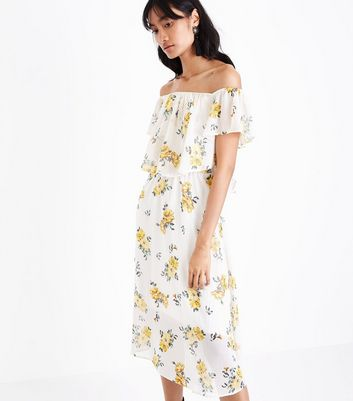 White and Yellow Stripe Floral Print Bardot Neck Midi Dress
